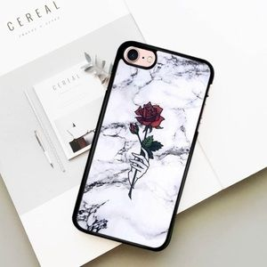 Accessories - Marble Hand Holding Rose Phone Case
